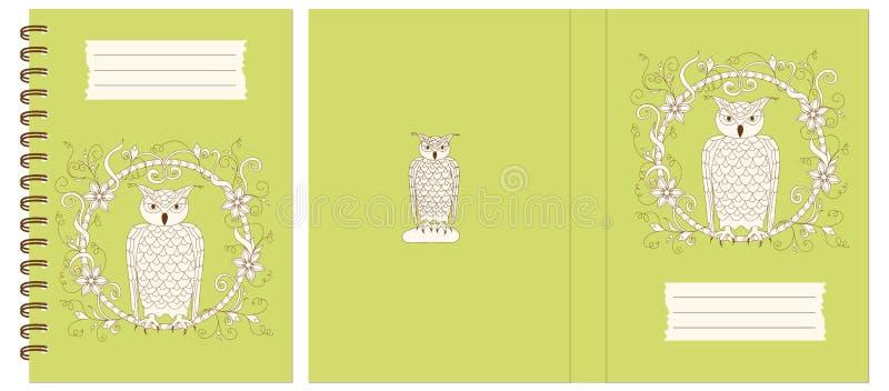 Projektuje notatnika z sową w kwiecistą ramę royalty ilustracja