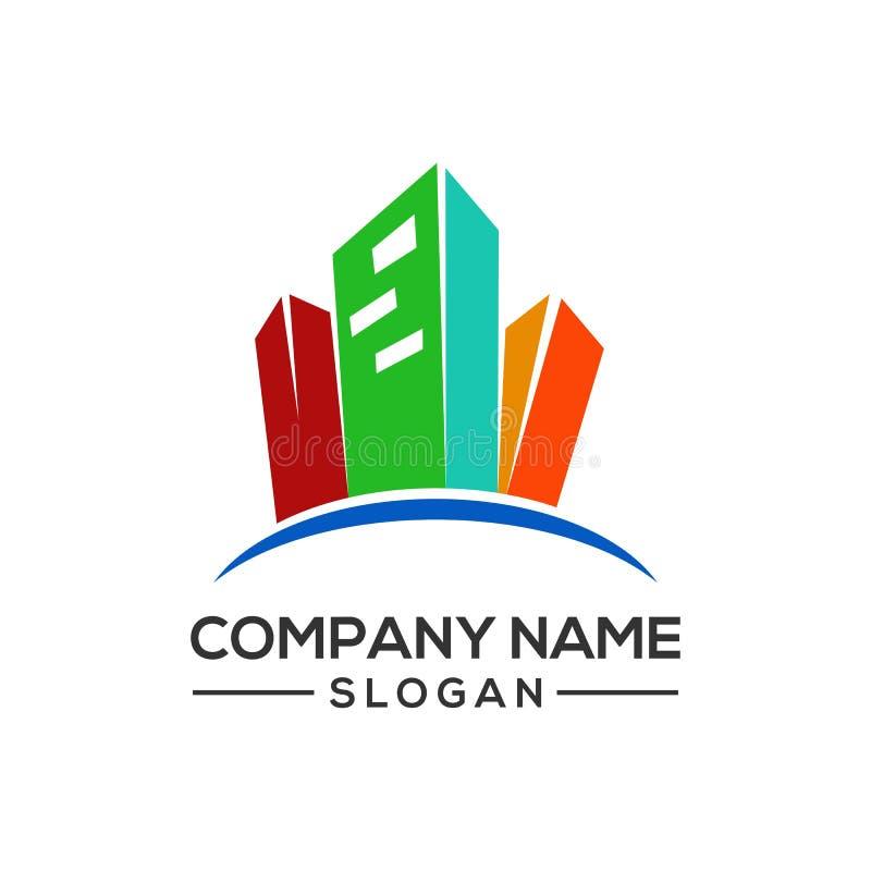 Projektuje nowożytnych budynku loga szablony dla nieruchomości firm i więcej budowa biznesów royalty ilustracja