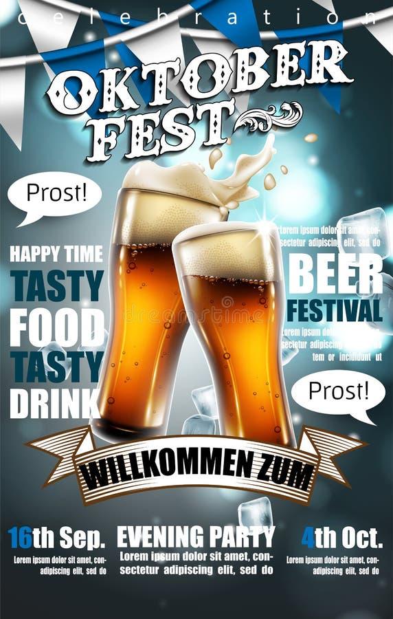 Projektuje plakat dla tradycyjnego piwnego festiwalu Oktoberfest Wysoce ilustracja wektor