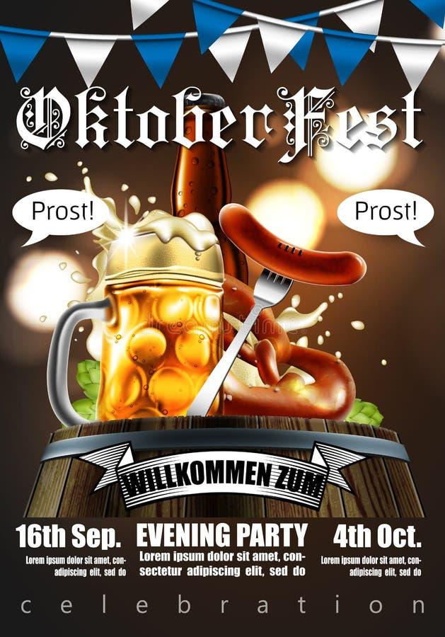 Projektuje plakat dla tradycyjnego piwnego festiwalu Oktoberfest Wysoce ilustracji