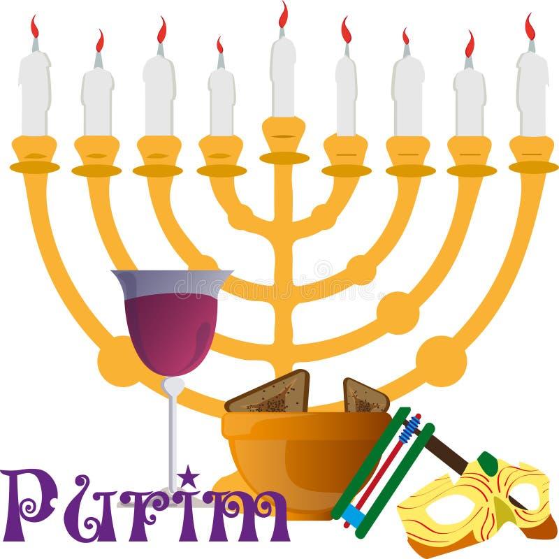 Projektuje rozwiązania dla Purim wakacje, fund i wakacji symboli/lów, ilustracja wektor