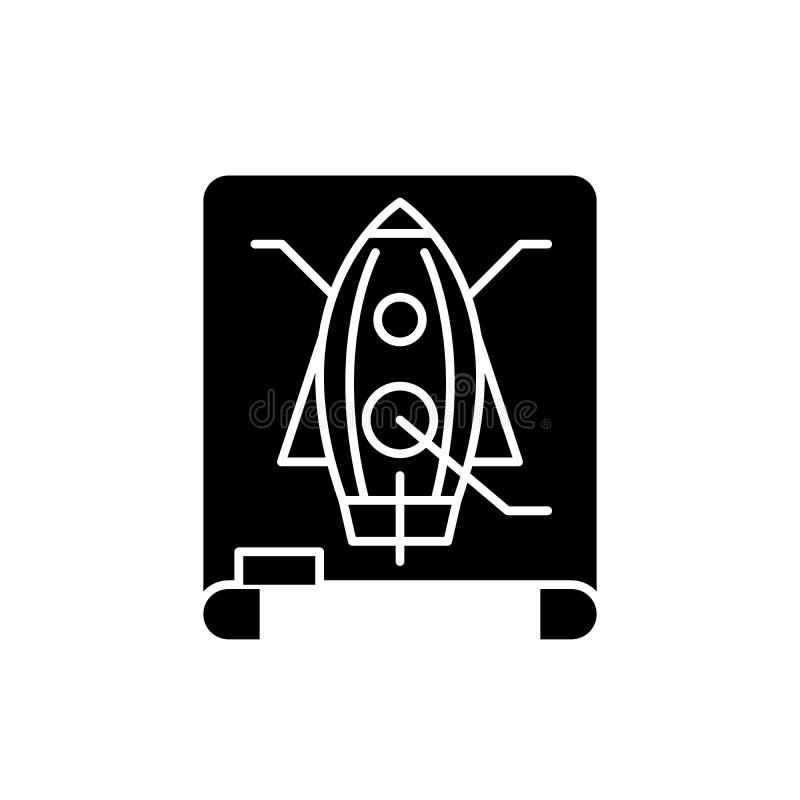 Projektuje rysunkową czarną ikonę, wektoru znak na odosobnionym tle Projekta pojęcia rysunkowy symbol, ilustracja ilustracja wektor