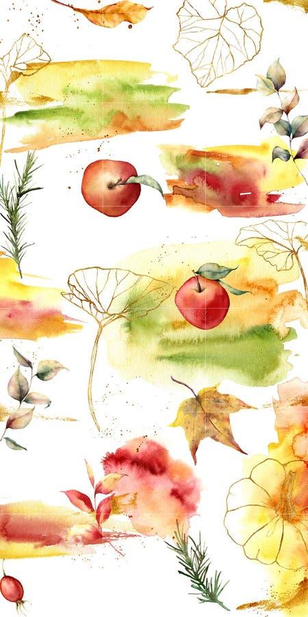 Projektuje tła dla ogólnospołecznego medialnego sztandaru z jesieni jabłkami i tematem Set Instagram poczty ramy szablony Mockup ilustracji