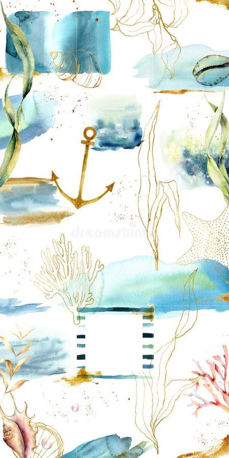 Projektuje tła dla ogólnospołecznego medialnego sztandaru z roślinami, teksturami i dennymi zwierzętami, Set Instagram poczty ram royalty ilustracja