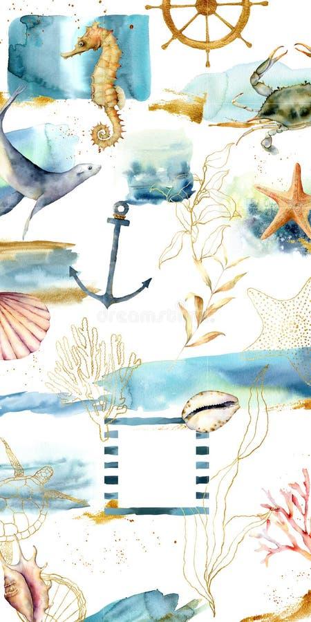 Projektuje tła dla ogólnospołecznego medialnego sztandaru z teksturami, dennymi zwierzętami i roślinami, Set Instagram poczty ram ilustracji