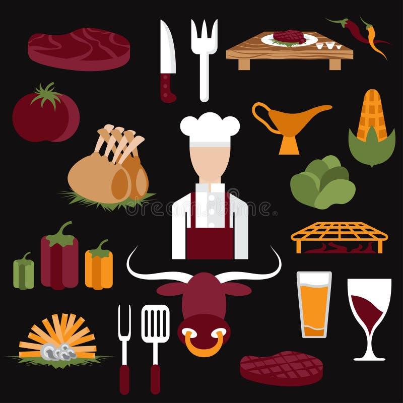 projektuje wektorowe ikony steakhouse karmowi elementy szef kuchni i royalty ilustracja