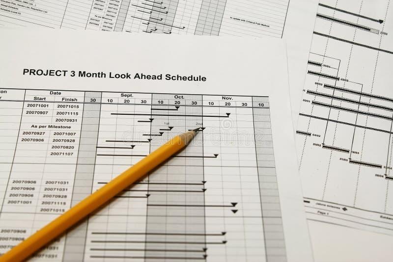 Projektzeitplanschauen nach vorn lizenzfreie stockbilder