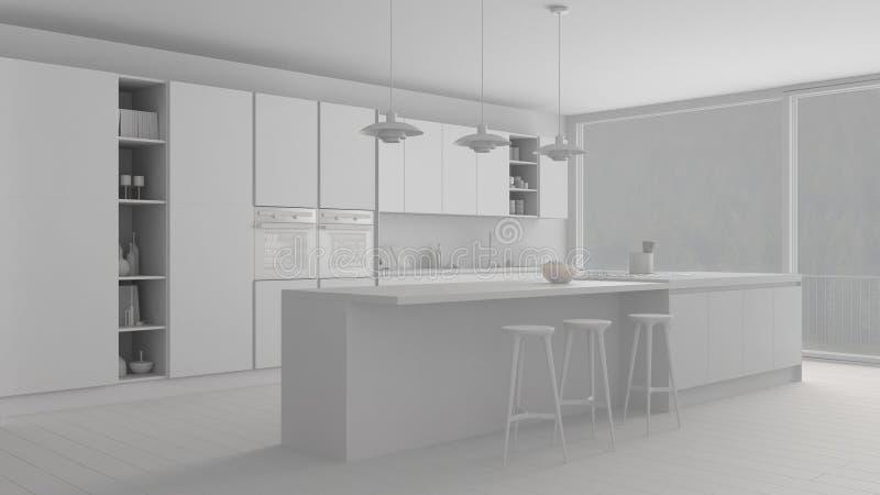 Projet blanc total de cuisine minimaliste moderne avec l'île et la grande fenêtre panoramique, parquet, lampes pendantes, archit  image stock