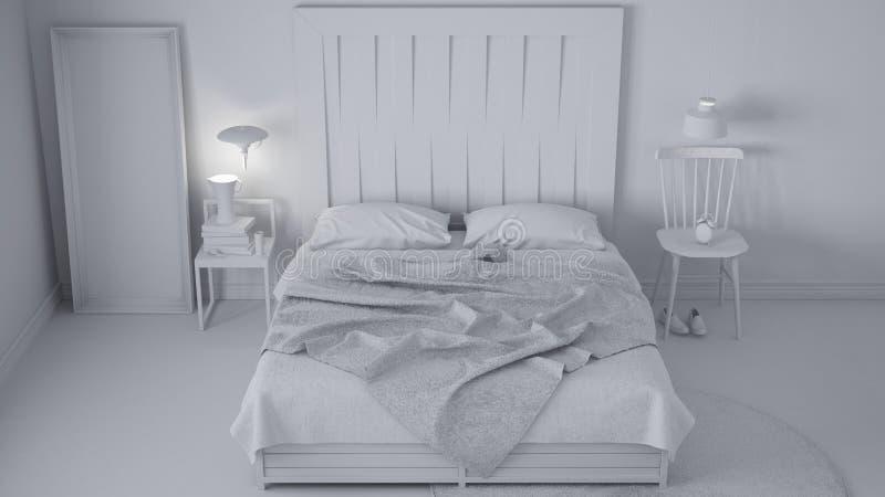Projet blanc total de la chambre à coucher contemporaine, lit avec la tête de lit en bois, conception chic d'eco blanc scandinave photographie stock