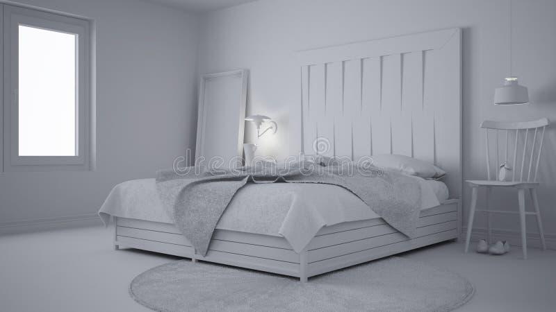 Projet blanc total de la chambre à coucher contemporaine, lit avec la tête de lit en bois, eco blanc scandinave chic photo libre de droits