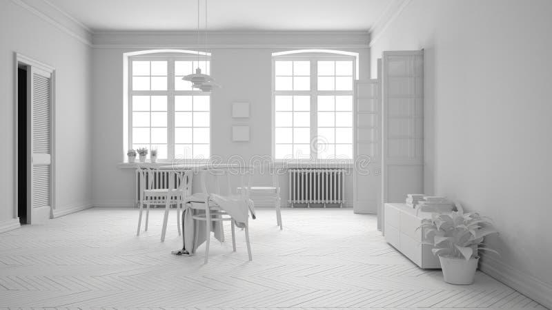 Salle à Manger Scandinave Blanche Et De Turquoise, Plancher ...
