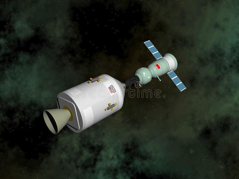 Projet d'essai d'Apollo-Soyuz - 3D rendent illustration stock
