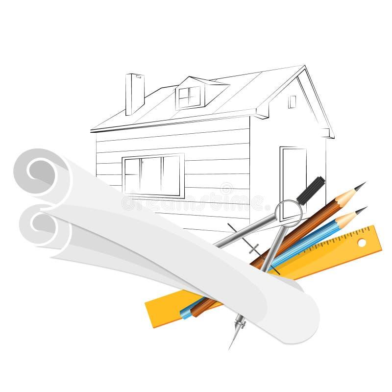 Projet d'ingénierie à la maison illustration libre de droits