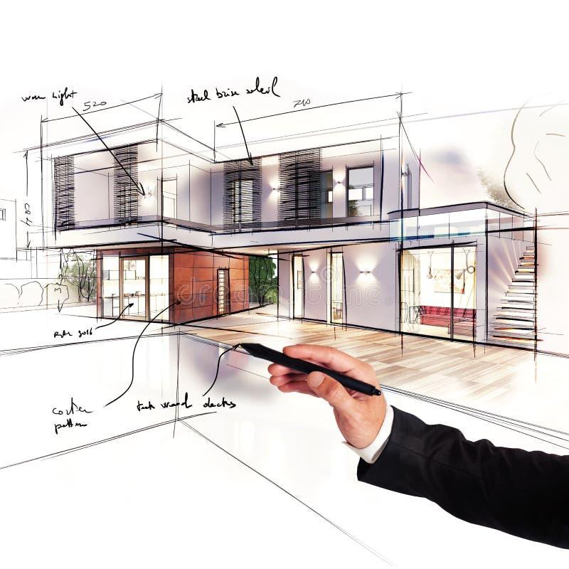 Projet d'une villa images stock