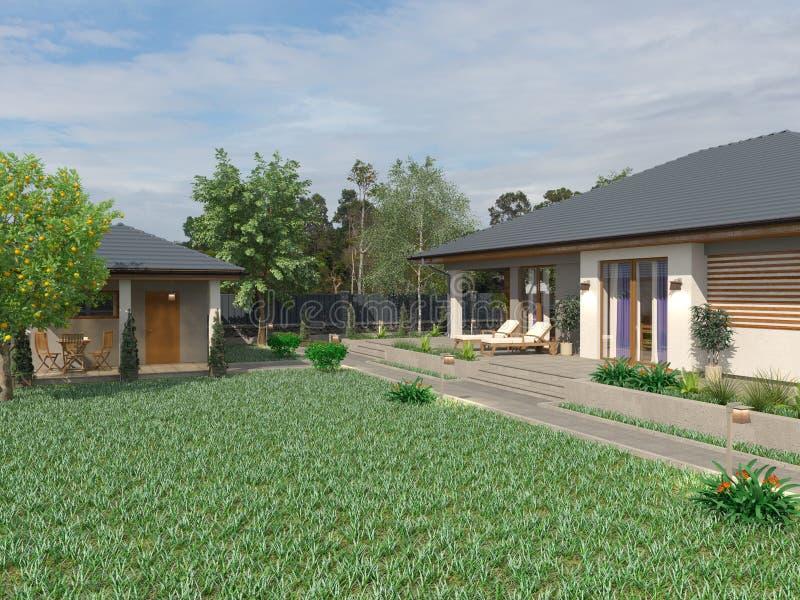 Projet d'une villa de luxe en construction images libres de droits