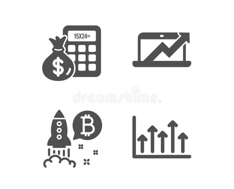 Projet de Bitcoin, calculatrice de finances et icônes de diagramme de ventes Signe d'?chelle de croissance Vecteur illustration libre de droits
