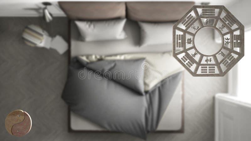 Projet de conception intérieure avec la consultation de shui de feng, le plan de chambre à coucher, la vue supérieure avec le bag illustration libre de droits
