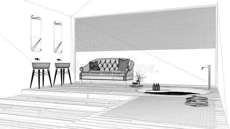 Projet de conception intérieure, croquis noir et blanc d'encre, modèle d'architecture montrant la salle de bains classique illustration libre de droits