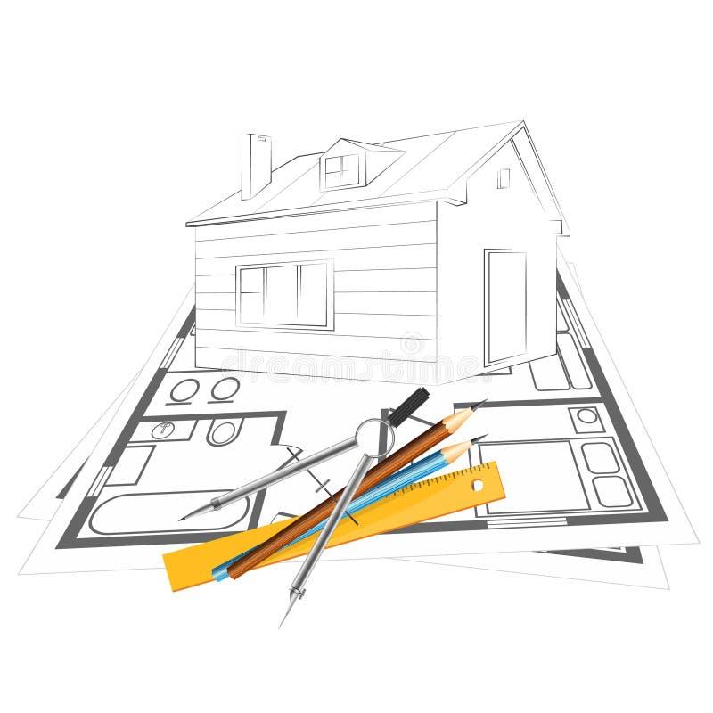 Projet de maison de dessin illustration libre de droits