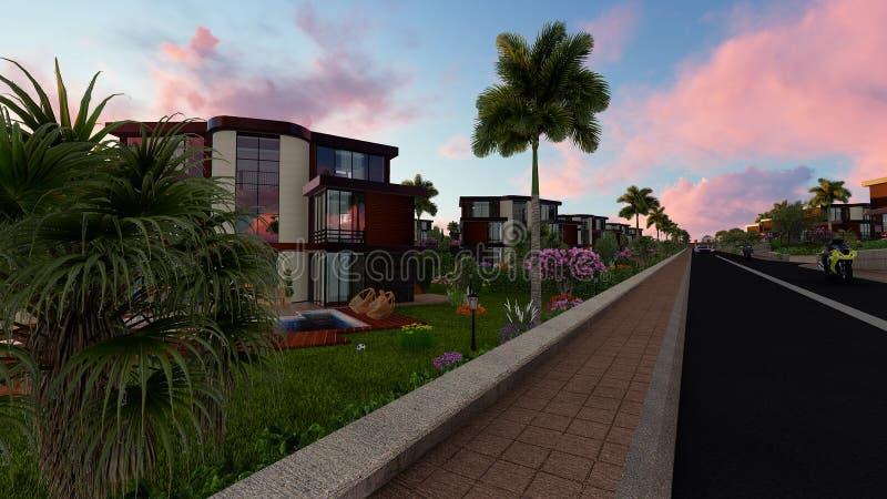 projet de villa du modèle 3D photo stock