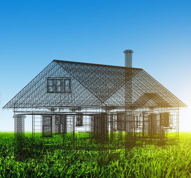 Projet de wireframe de nouvelle maison sur le champ vert Maisons d'immeubles?, appartements à vendre ou pour le loyer photos libres de droits