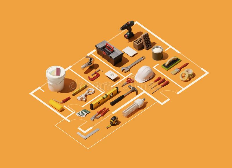 Projet isométrique de plan de maison avec des outils de travail illustration de vecteur