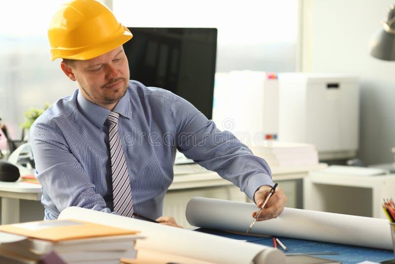 Projet occupé de Draft Architectural Building d'ingénieur photo stock