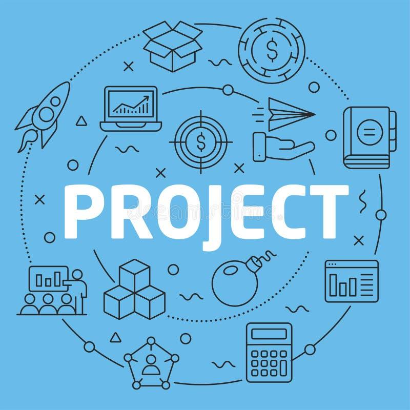 Projet plat d'illustration de cercle de Blue Line illustration stock
