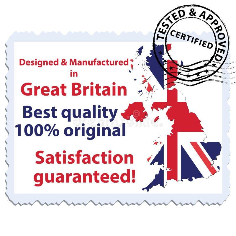Projetado e manufaturado em Grâ Bretanha ilustração do vetor