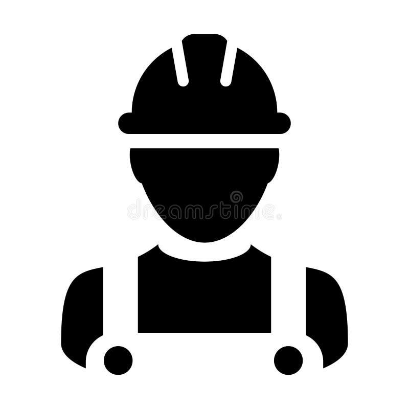Projetando o avatar masculino do perfil da pessoa do serviço da construção do vetor do ícone com capacete do capacete de seguranç ilustração do vetor