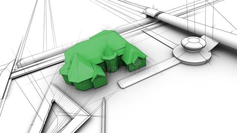 Projetando uma casa verde ilustração royalty free
