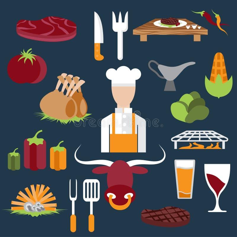 projete ícones do vetor de elementos e de cozinheiro chefe do alimento da churrasqueira ilustração royalty free