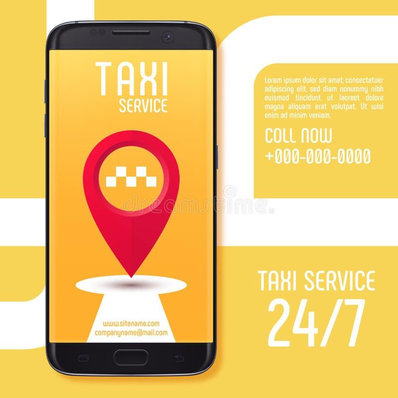 Projete a bandeira do serviço app do táxi na tela do smartphone preto ilustração stock