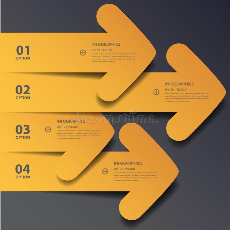 Projete bandeiras lisas /graphic do número de etapa da sombra ou Web site Vect ilustração stock