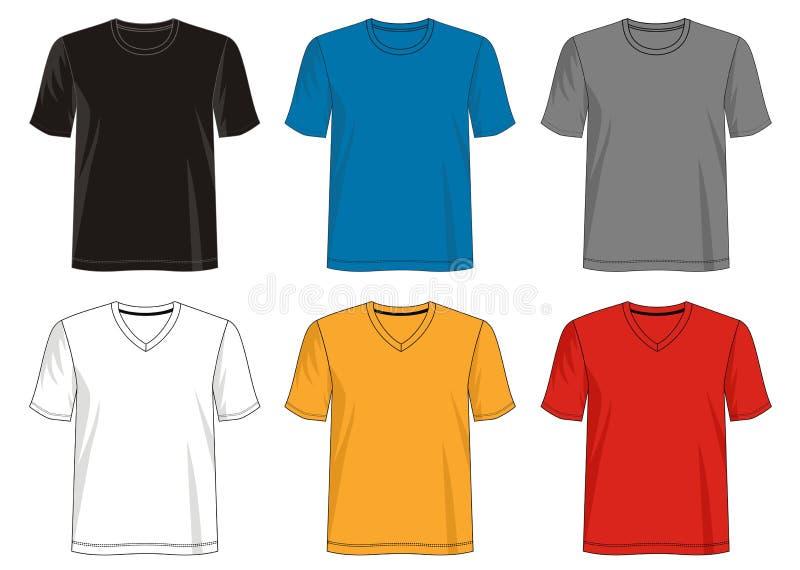 Projete a coleção do molde da camisa do vetor t para os homens 025 ilustração do vetor