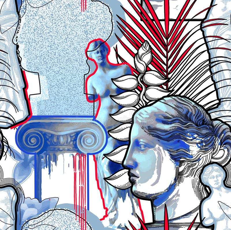 Projete com escultura, coluna e flores de Venus de Milo ilustração royalty free