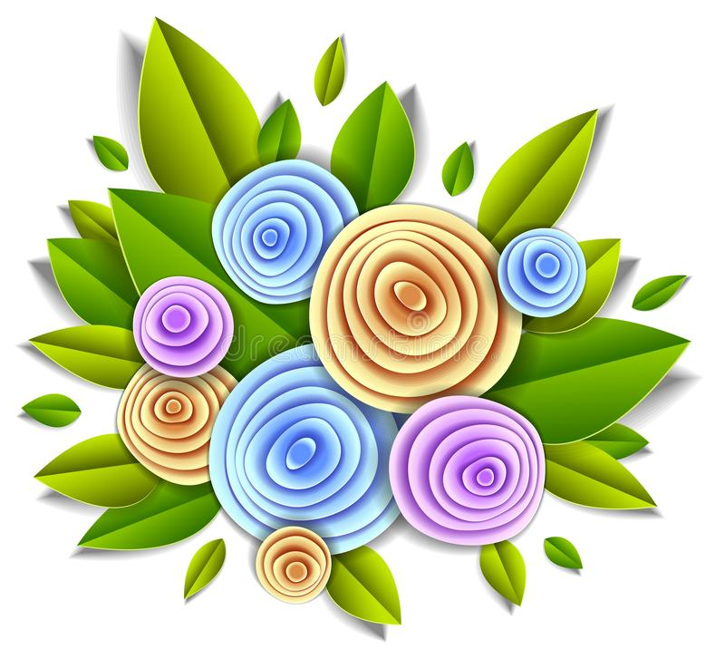 Projete com estilo do corte do papel das flores e das folhas, ilustra??o floral do vetor ilustração royalty free