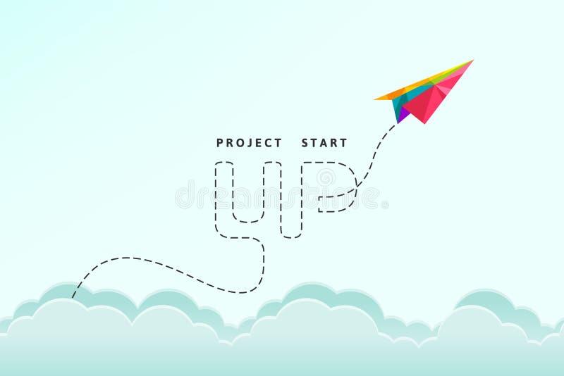 Projete começam acima o conceito com voo plano de papel colorido através do céu ilustração do vetor