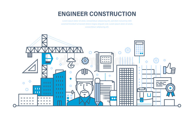Projete a construção de trabalho o ambiente em torno do local de trabalho ilustração stock