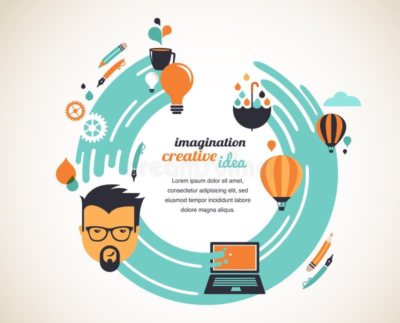 Projete, criativo, ideia e conceito da inovação ilustração stock