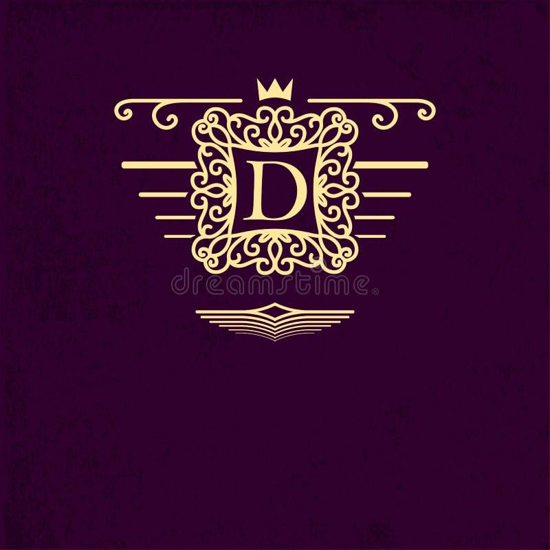 Projete elementos, etiquetas, ícone, quadros, para empacotar, projeto de produtos luxuosos Feito com o ouro que grava no backgro  ilustração stock