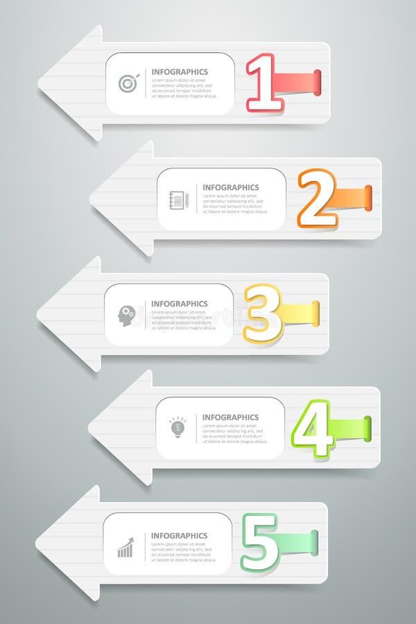 Projete etapas infographic do molde 5 das setas, ilustração do vetor ilustração royalty free