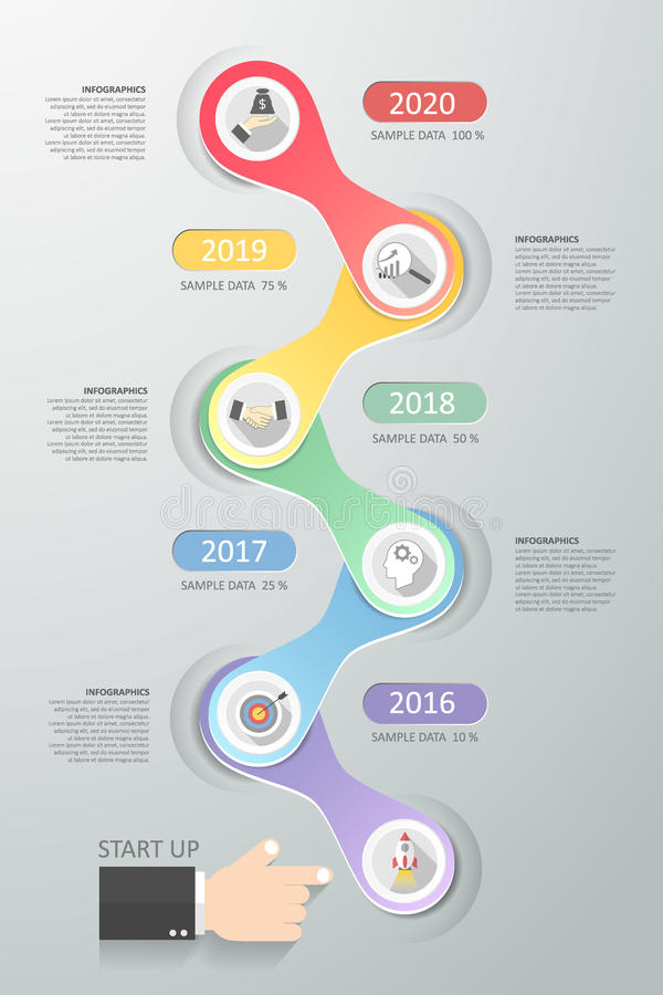 Projete etapas infographic do molde 6 para o conceito do negócio ilustração do vetor