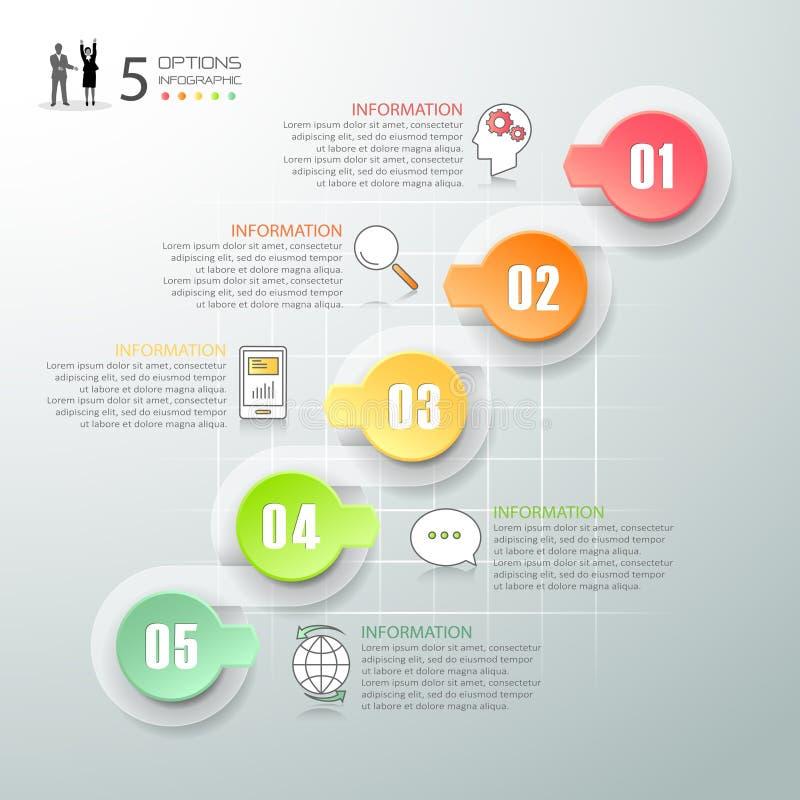 Projete 5 etapas infographic, molde infographic do conceito do negócio ilustração do vetor