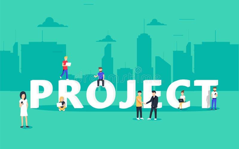 Projete a ilustração do conceito dos trabalhos de equipa dos executivos que usam portáteis e smartphones ilustração stock