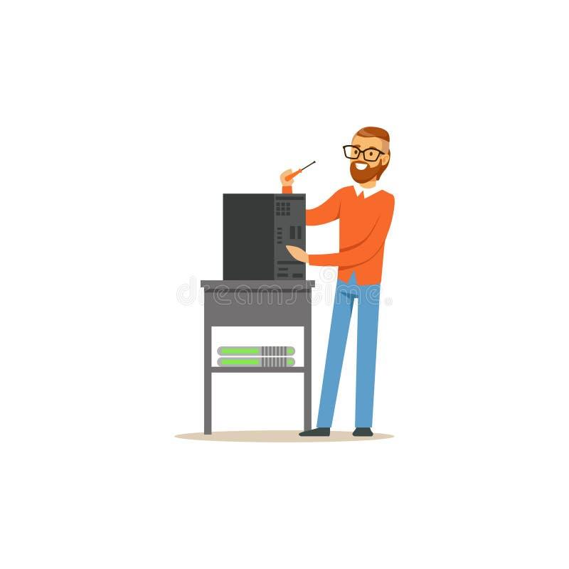 Projete o administrador do sistema a TI que repara a unidade de sistema, ilustração do vetor do serviço dos trabalhos em rede ilustração royalty free