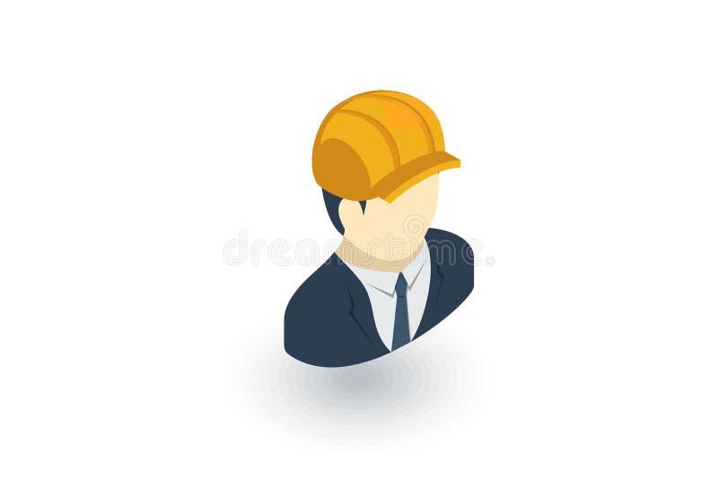 Projete o avatar, arquiteto no ícone liso isométrico do capacete vetor 3d ilustração do vetor