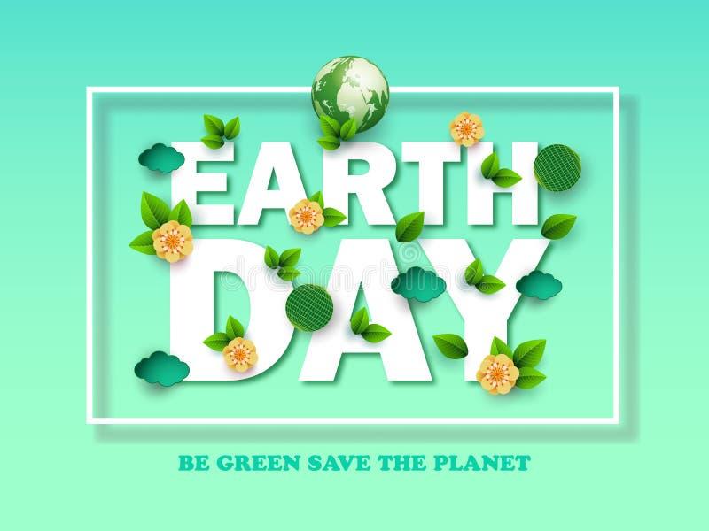 Projete o Dia da Terra feliz do molde com folhas, as flores e as nuvens abstratas Ilustração do vetor Elementos ambientais colori ilustração royalty free