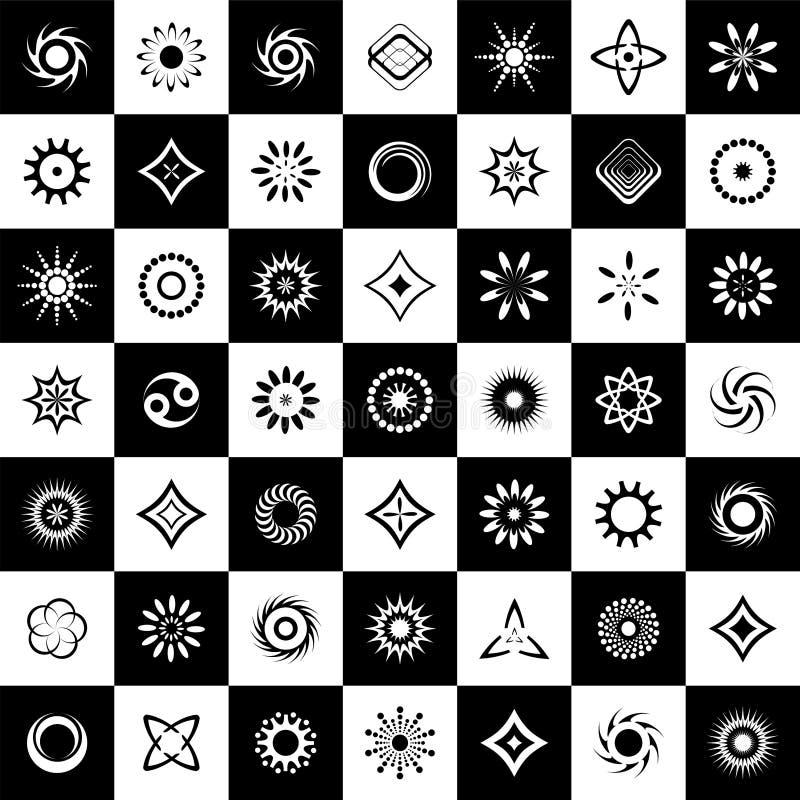 Projete o jogo de elementos 49 ícones preto e branco abstratos ilustração royalty free