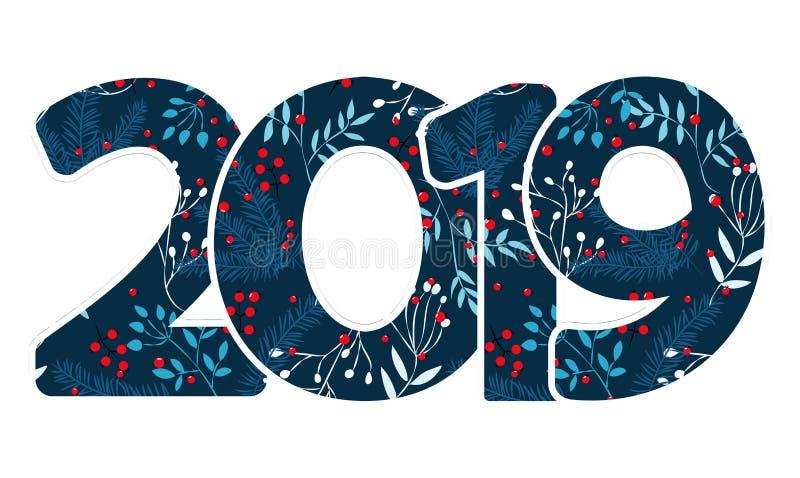 Projete o molde com caligrafia por 2019 anos novos felizes Rotulação tirada do número 2019 mão preta no fundo branco Illus do vet ilustração royalty free